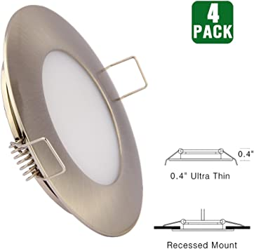 Amazon Com 12v Led Rv Boat Ceiling Lights Recessed Interior Dome Light Cabinet Roof Cabin Overhead Downlight 3 5w 3inches Brushed Nickel 4 Pack Warm White Automotive