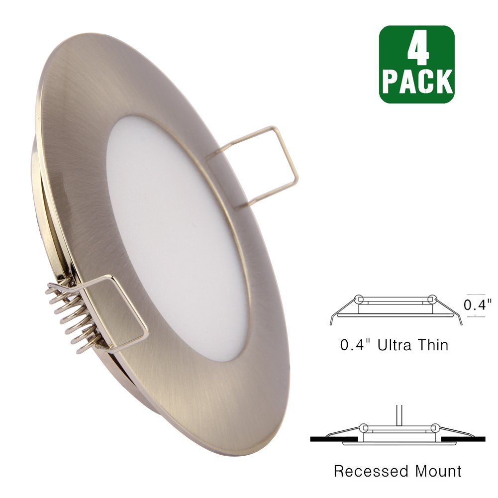 12V LED RV Boat Ceiling Lights Recessed Interior Dome Light Cabinet Roof Cabin Overhead Downlight 3.5W 3inches Brushed Nickel, 4 Pack (Cool White) Obeaming