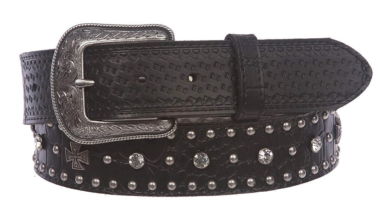 MONIQUE Women Crocodile Cross Rhinestone Studded Leather Snap On 1.5 Belt