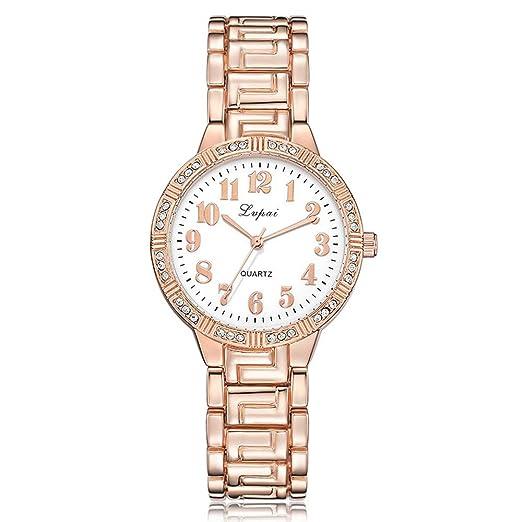 Relojes Mujer Relojes de Pulsera de Cuarzo y Diamantes de imitación. Pulsera de aleación de Lujo. Reloj Relogio Feminino Simple. Oro Rosa y Blanco.