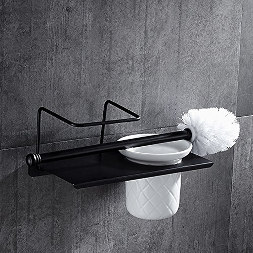 WENZHE Over toilet Bathroom Shelf Rack Washroom Shower Wall Mounted Corner Toilet Brush Toilet Brush Copper Black, 250 120mm storage organizer (Color : Drilling, Size : 1 pieces) high-quality