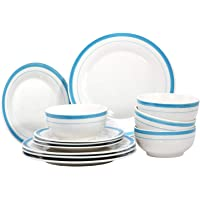 Royalford 12 Pieces Porcelain Dinner Set – Flat Plates and Bowls – Pure White, Dishwasher Safe, Oven & Freezer Safe, Durable and Extra Chip Resistant