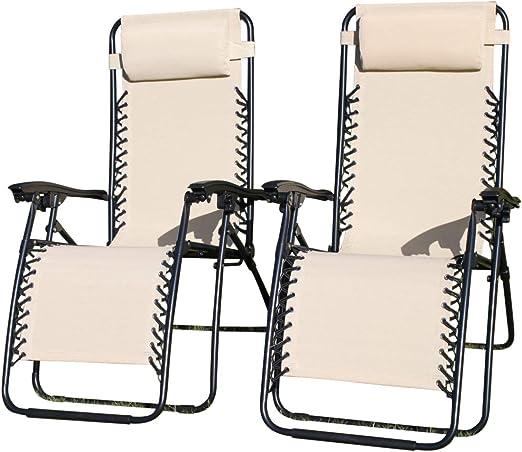 PACK DE 2 sillones tumbonas reclinables de jardín en textileno impermeable de color beige claro con reposacabezas ajustable y múltiples posiciones.: Amazon.es: Jardín