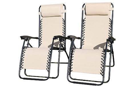 PACK DE 2 sillones tumbonas reclinables de jardín en ...