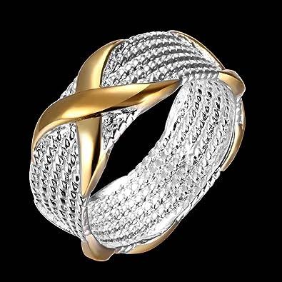 Mes-Bijoux-Bracelets Bague Anneaux Multiples Doré Or Jaune 750 000 18ct  Cadeau Femme Bijou Fantaisie Haut de Gamme Bicolore Femme Jaune Bicolore  Croix ... 0de37d1bace7