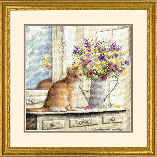Dimensions Kitten In The Window Counted Cross-Stitch Kit Kitten Cross Stitch
