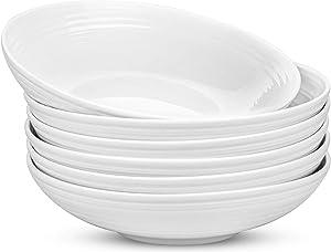 Yesland 6 Pack Porcelain Salad Pasta Bowls, 26 Ounces White and Shallow Soup Bowl Set, Large Spiral Pattern Serving Bowl Set for Soup, Pasta, Stew, Salad, Vegetables, Cereal & Dessert