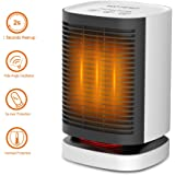 WOTERZI Ceramic Space Heater Portable Personal Electric Heater Fan with Hot & Natural Wind, Overheat & Tip Over Protections, 2s Heat-up, Oscillating Function, Quiet for Home Office Use 950W/700W/5W Wh