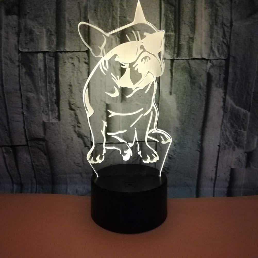 Luz Nocturna para Perros Bulldog francés 7 Colores Que cambian iluminación de Camera de Cama Illusion 3D Home Decor Touch Control Lamp: Amazon.es: Hogar
