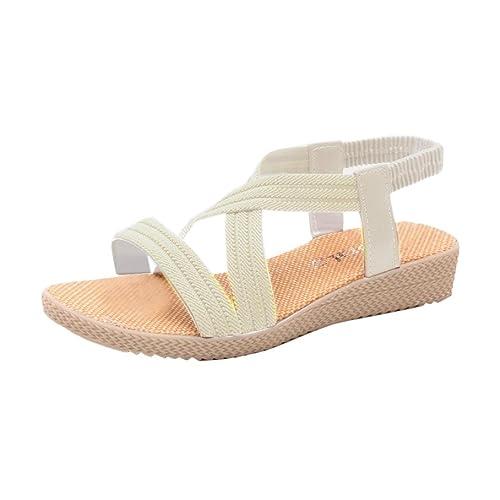 Scarpe della Boemia delle donne piatte Vovotrade Elasticit�� per il tempo libero Lady sandali peep-toe scarpe da esterno (38, Beige)
