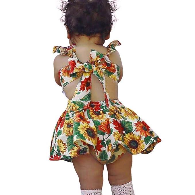UOMOGO® Ragazze Abiti estate del bambino Abito senza maniche floreale  neonata casuali Sundress 3-24 Mesi  Amazon.it  Abbigliamento 4d5de35675e