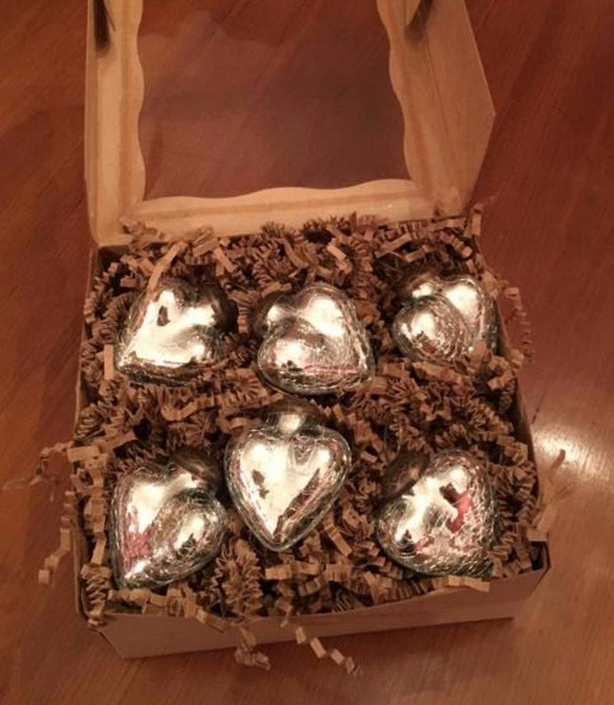 Christmas Tablescape Décor - Mini silver mercury glass heart shaped ornaments - Set of 6