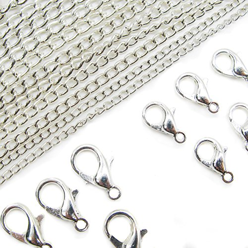 TOAOB Silver Lobster Clip And Curb Link Chain For Jewelry Making Necklace Pack of 7M