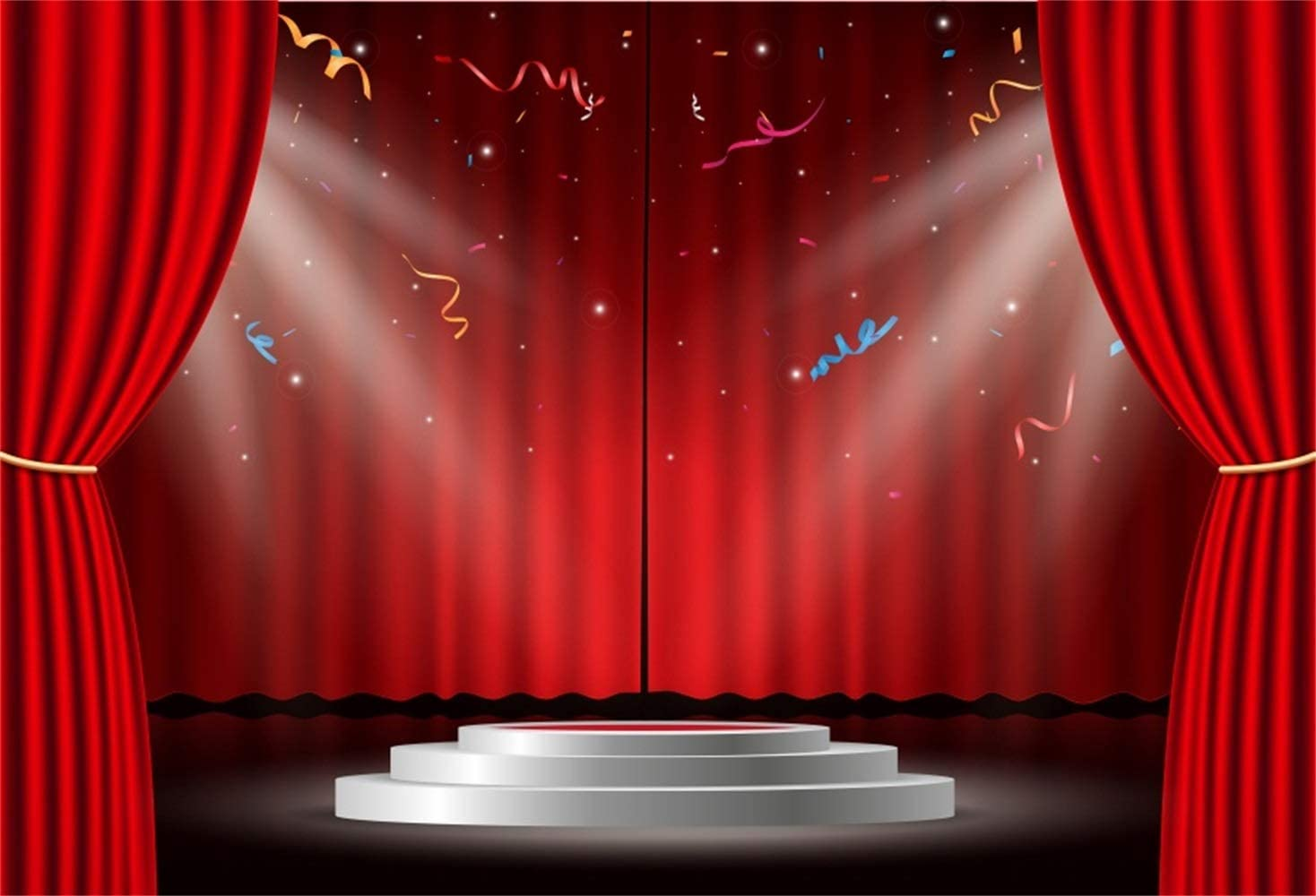 Show Time Red Stage Backdrop 8x6.5ft Polyester Red Curtain Bright Spotlights Now Showing Golden Lace Sign Photography Background Live Show Performance Shoot Event Banner Adult Child Portrait