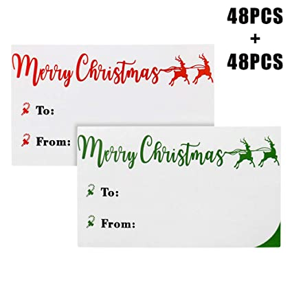 amazon com christmas gift tag stickers 96 count xmas to from