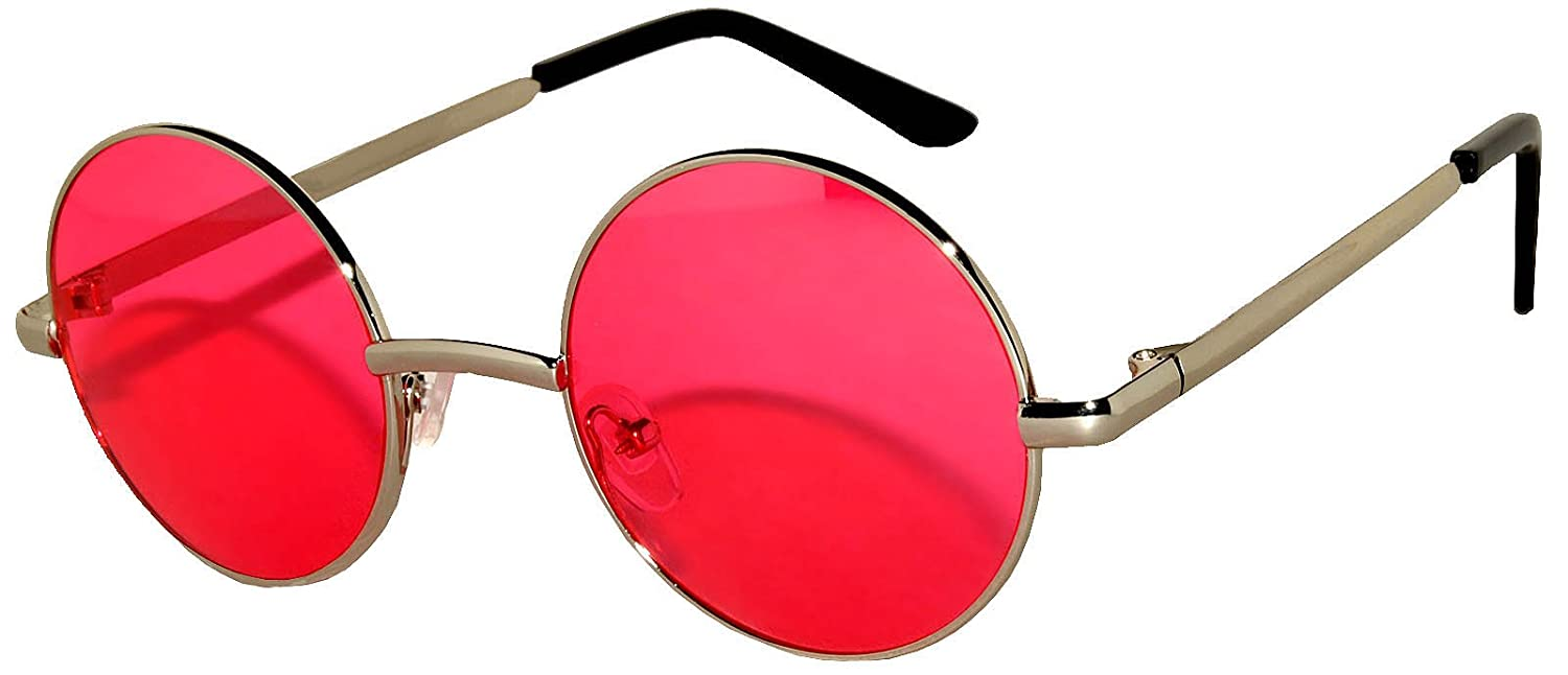 f944606e795a 43 mm and 56 mm lens size Retro Style Round Circle Colored Lens Vintage  Tint Sunglasses Soft Spring Hinge Colored Metal Frame. Owl Brand.