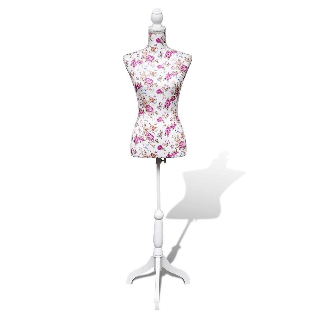 ホワイトレディースバスト表示Mannequinドレスフォームコットンwith Flower B076GZMFY9