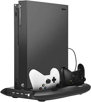 Soporte para Xbox One X - Younik Soporte Vertical con ventiladores, estación de carga y 4 puertos hub USB para Xbox One X (No compatible con Xbox One/ Xbox One S): Amazon.es: