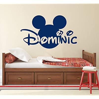 Mickey Mouse Name Wall Decal Head Ears Vinyl Sticker Decals Custom Name Personalized Baby Boy Name Decor Bedroom Nursery Baby Room Decor x148: Home & Kitchen
