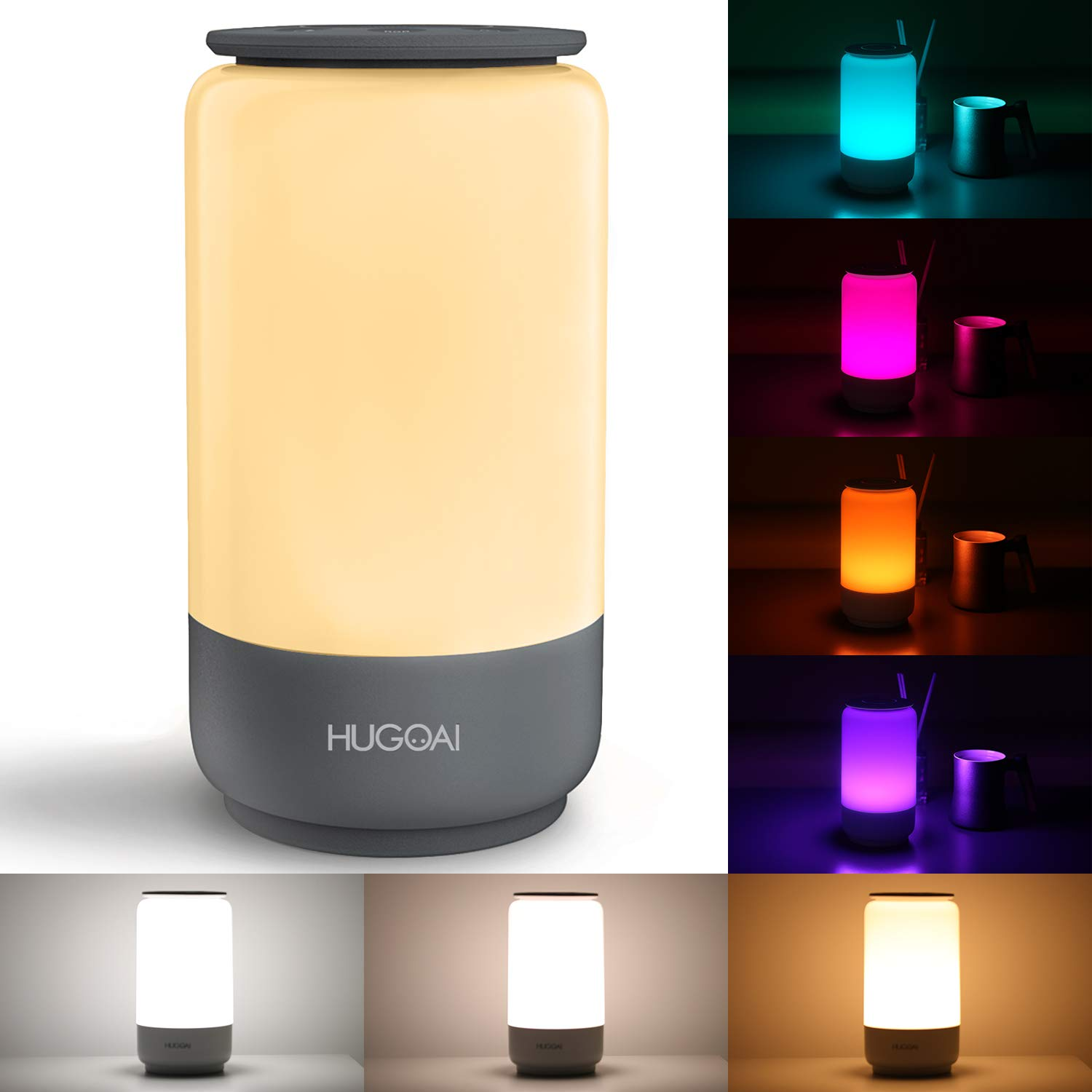 HUGOAI LED Table Lamp, Bedside Lamp, Night Light for Bedroom with Dimmable Whites, Vibrant RGB Colors and Memory Function, No Flicker - Grey
