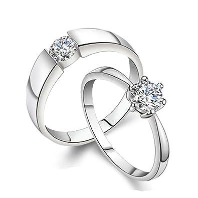 Bishilin 2 Stucke Verlobungsring Hochzeit Ringe S925 Sterling Silber