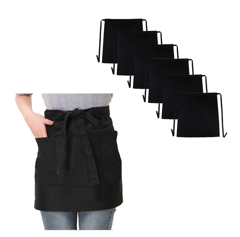 TSD STORY 6PCS Waist Apron 3 Pockets Restaurant Half Aprons Men Women Chef Baker Servers Waitress Waiter Bartender Craftsmen Money Apron Check Holder (6, Black)