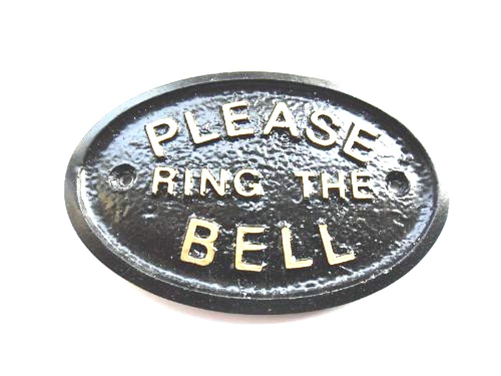 """PLEASE RING THE BELL"" FRONT DOOR WALL PLAQUE IN BLACK PRTB"