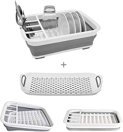 Amazon Com Collapsible Dish Drying Rack With Drainer Board Set Portable Dish Drainers For Small Kitchen Camper Rv Caravan Travel Trailer Grey