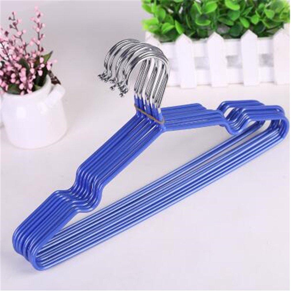 miaoqutong 10個/ロットステンレススチールプラスチックハンガー滑り止め乾燥服ラック大人用と子ハンガー B07FJMRWZ1 30cm Blue