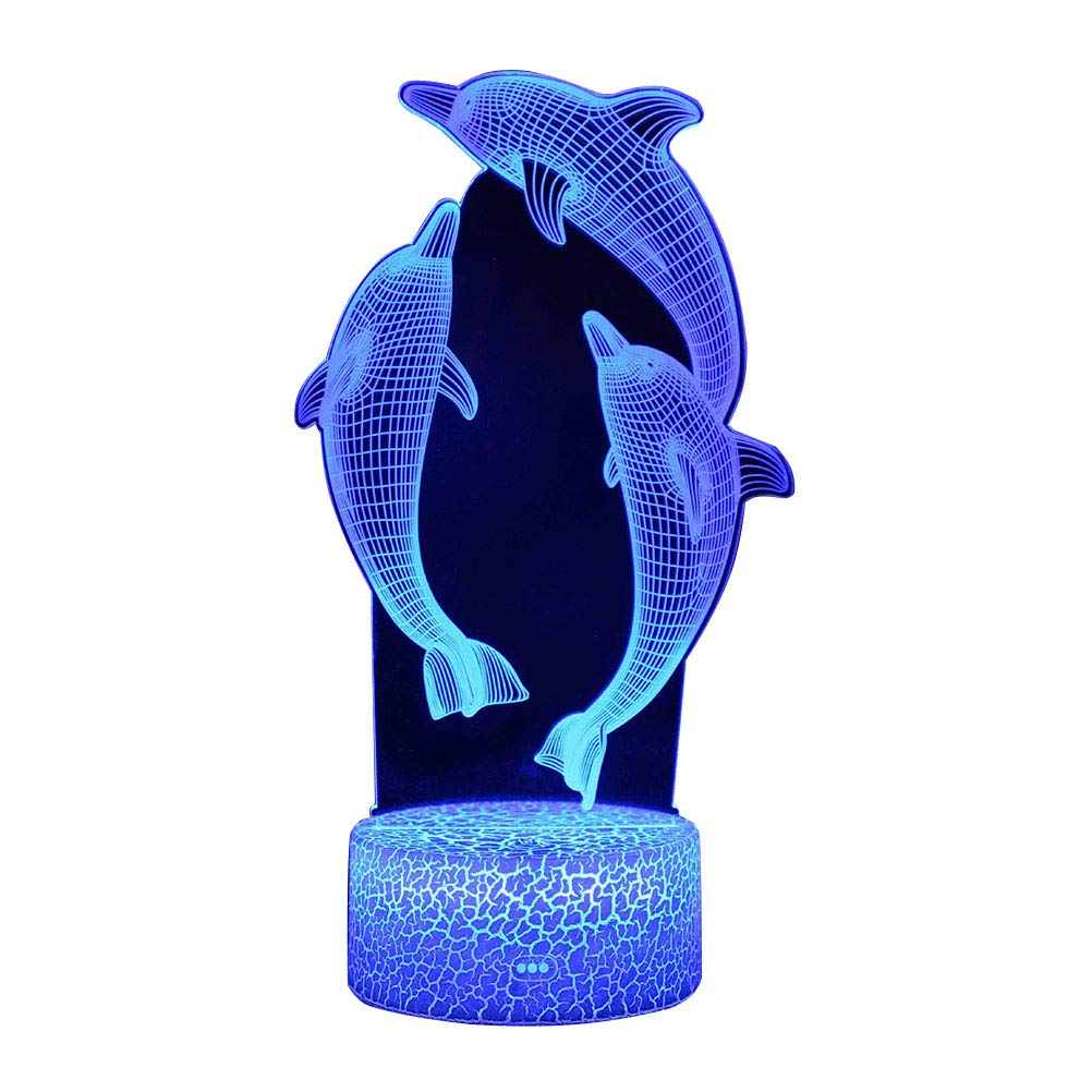 NUOBESTY 3D Colorful Dolphin Night Light Touch Switch Night Lamp LED Bedside Lamp Without Battery