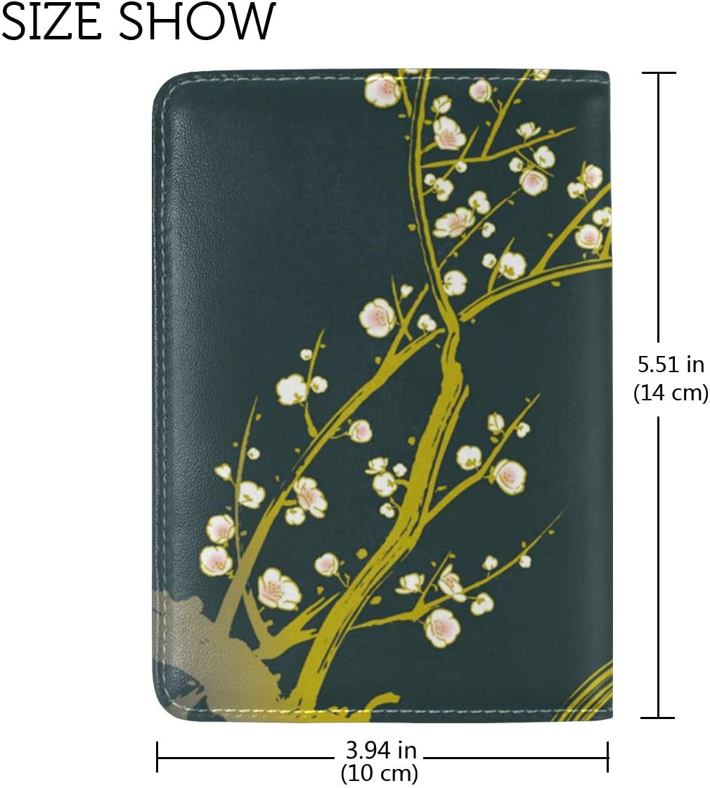 LEISISI Traditional Japanese Style Plum Genuine Real Leather Passport Holder Cover Travel Case