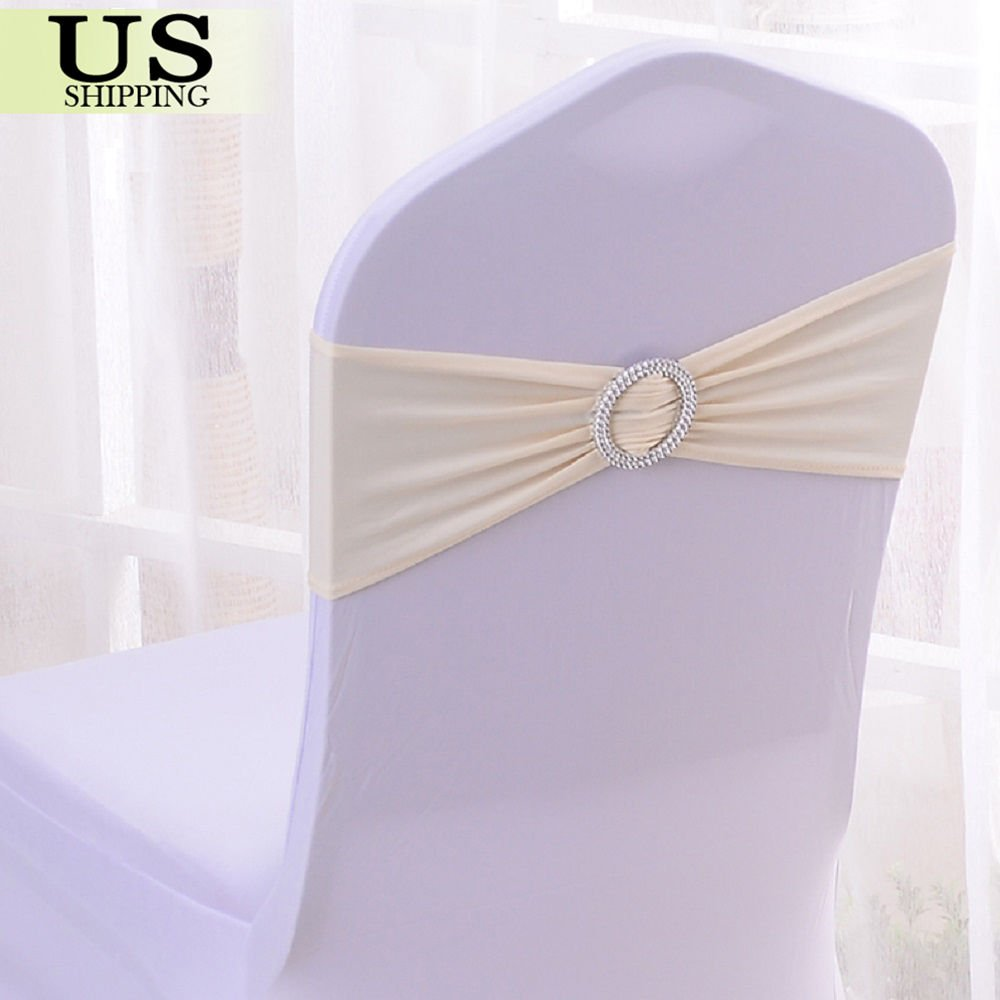 PINK 100Pcs Spandex Stretch Chair Cover Sash Bow Wedding w// Buckle Slider Sashes