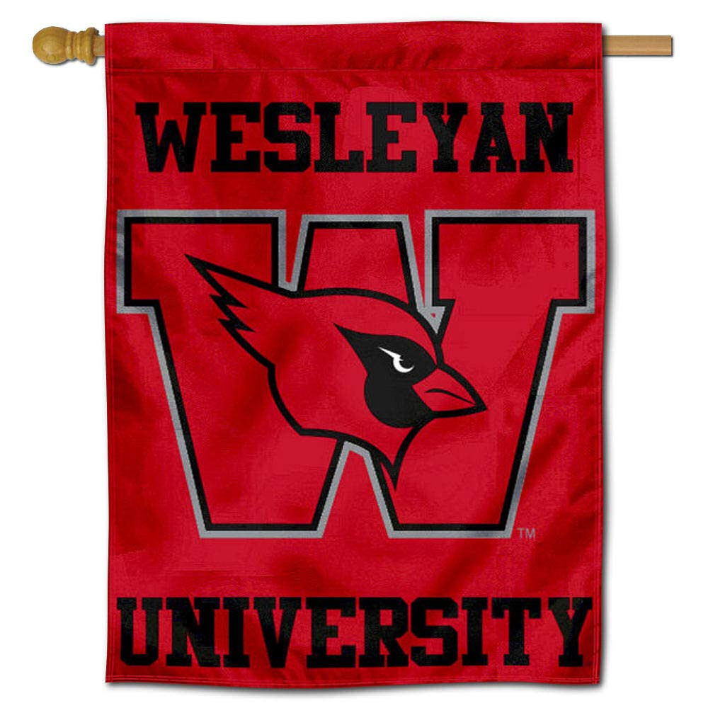 Wesleyan Cardinals Double Sided House Flag College Flags and Banners Co