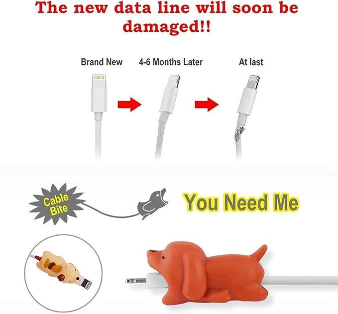 mignons c/âble USB. mignons Lot de 6 d/écoupe-c/âbles c/âble de recharge animaux de dessin anim/é