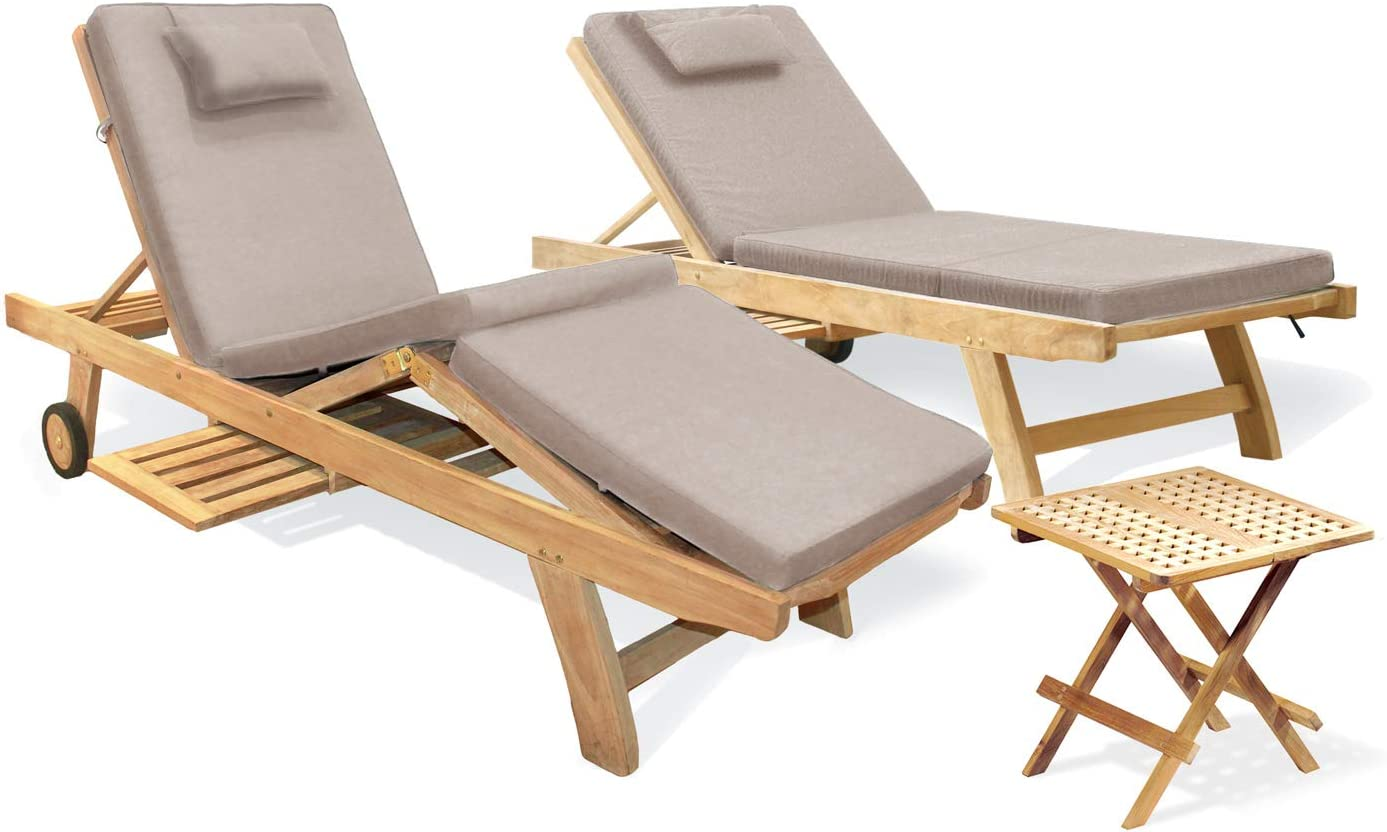 Jati Set Of 2 Teak Adjustable Sun Loungers With Cushions Taupe And Side Table Amazon Co Uk Garden Outdoors