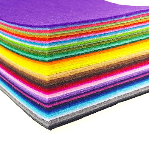 flic-flac 44PCS/88PCS Assorted Color Felt Fabric Sheets Patchwork Sewing DIY Craft 1mm Thick … (25cm 25cm, 44pcs)