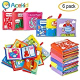 Acekid First Soft Book, Nontoxic Baby Cloth Books Early Education Toys Activity Crinkle Cloth Books for Infants - Crinkle,Colorful,Pack of 6
