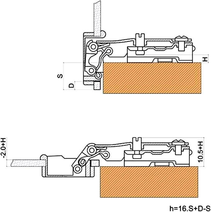 AERZETIX Cromato 4x Cerniera per avvitare nodi a vasi per porta /Ø14х90mm