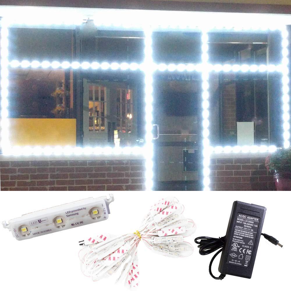 LEDUPDATES STOREFRONT WINDOW LED LIGHT Super Bright SAMSUNG LED CHIP 25FT MADE IN KOREA WHITE + UL 12v POWER SUPPLY