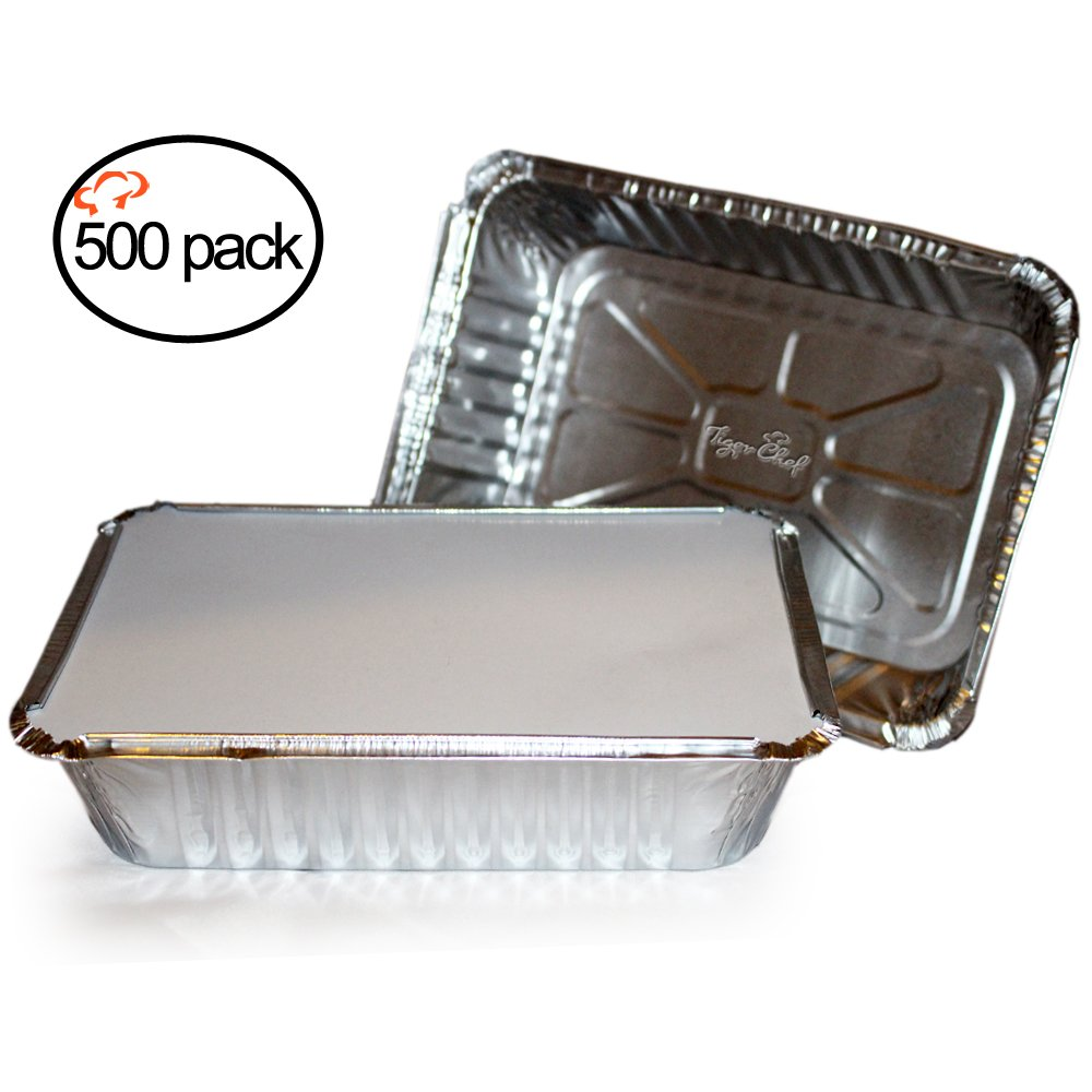 Tiger Chef Oblong Tin Foil Pans with Lids, Disposable Aluminum Freezer to Oven Safe Containers, 2-1/4-Pound, for Takeout, Baking, Cooking, Storing and Freezing (500, 2-1/4-Lb Oblong Pan Board Lid)