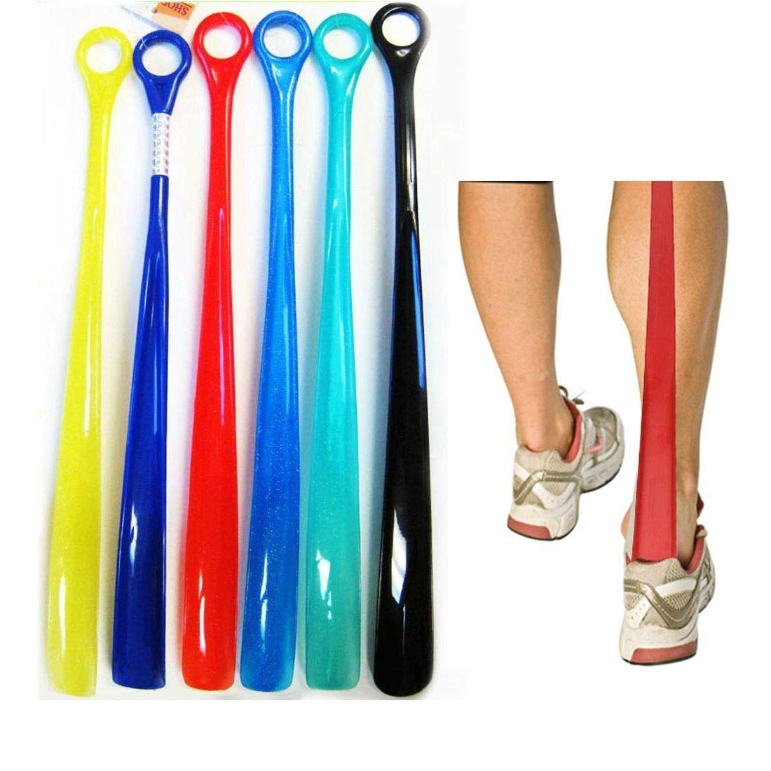 2 Plastic Shoehorns 18.5'' Extra Long Large Shoe Horn Handle Sturdy Flexible New by Unknown