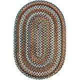 Tribeca Textured Braided Rug 100% Wool Rug Thick & Soft Green Casual Carpet, 3' X 5' Oval