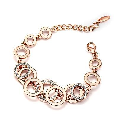 18K Rose Gold Plated Flower Pattern Bangle Bracelets with Australia Crystal vN1qZ7avL
