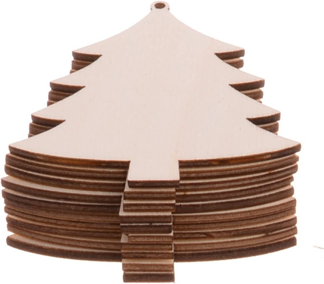 50pcs Wooden Christmas Embellishment For Scrapbooking Crafts DIY Xmas Tree 2017