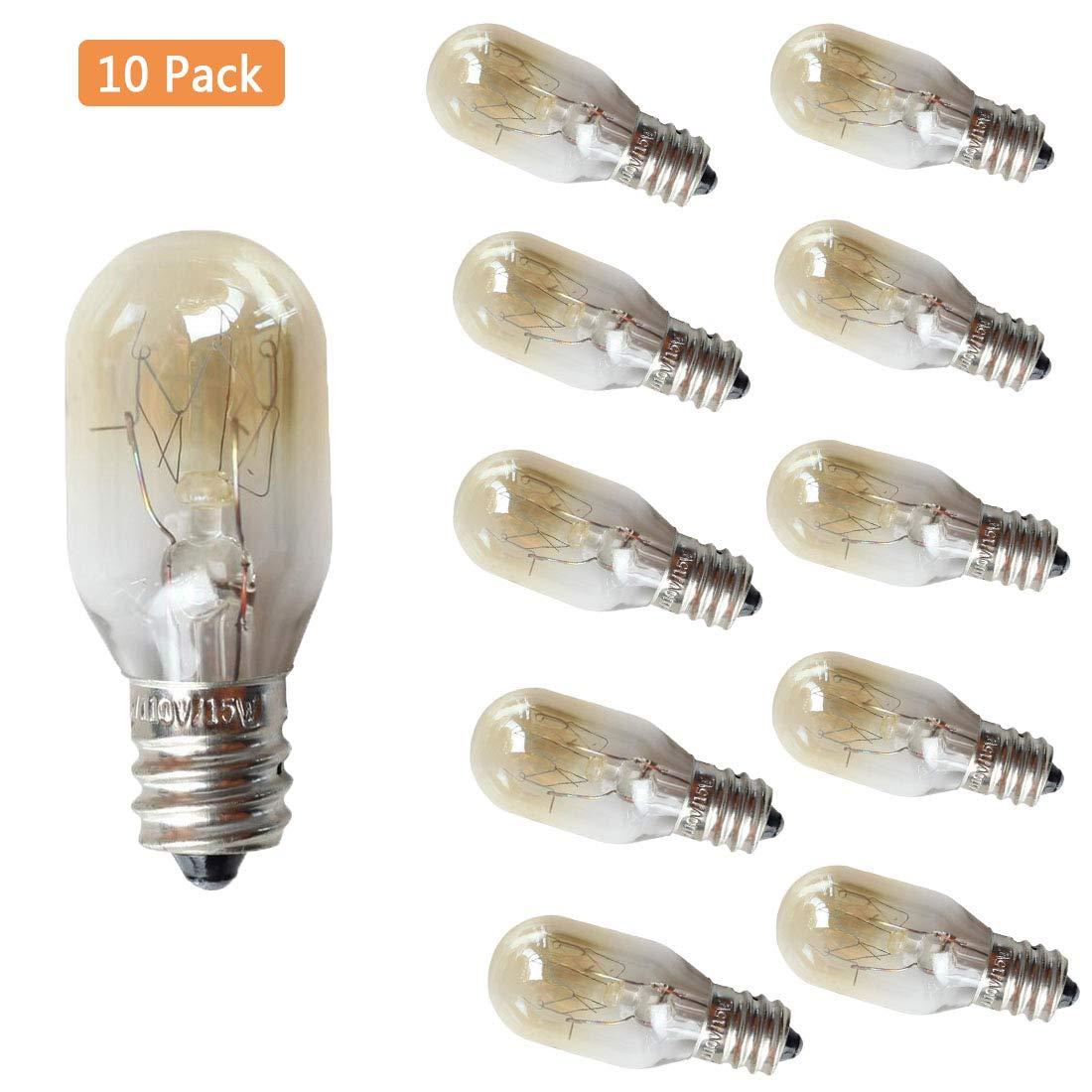 EBD Lighting 15W E12 Refrigerator Light Bulb (10 Pack) 15W 110V 2700K Warm Whit Microwave Oven Bulb Salt Lamp Light Bulbs Mini Bulbs E12 Candelabra Socket Appliance Light Bulbs