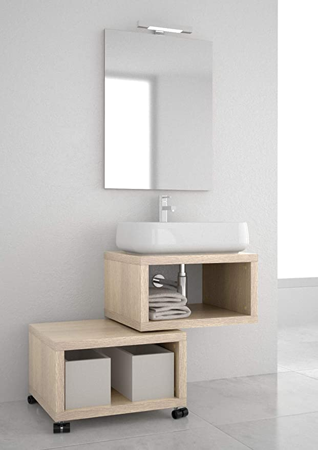 Muebles de baño branchetti 2.0 - Open 2.0 Moderno con Lavabo Abierto - Carrito Abierto - Lavabo de cerámica - Espejo con lámpara de LED - sifón Cromado.