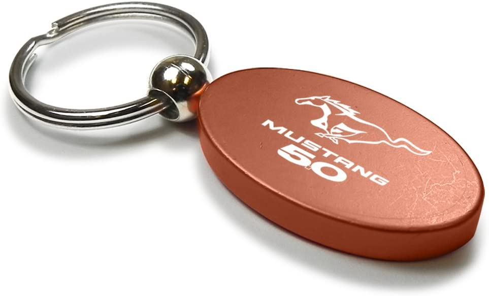 Orange Aluminum Metal Oval Ford Mustang GT Logo Key Chain Fob Chrome Ring
