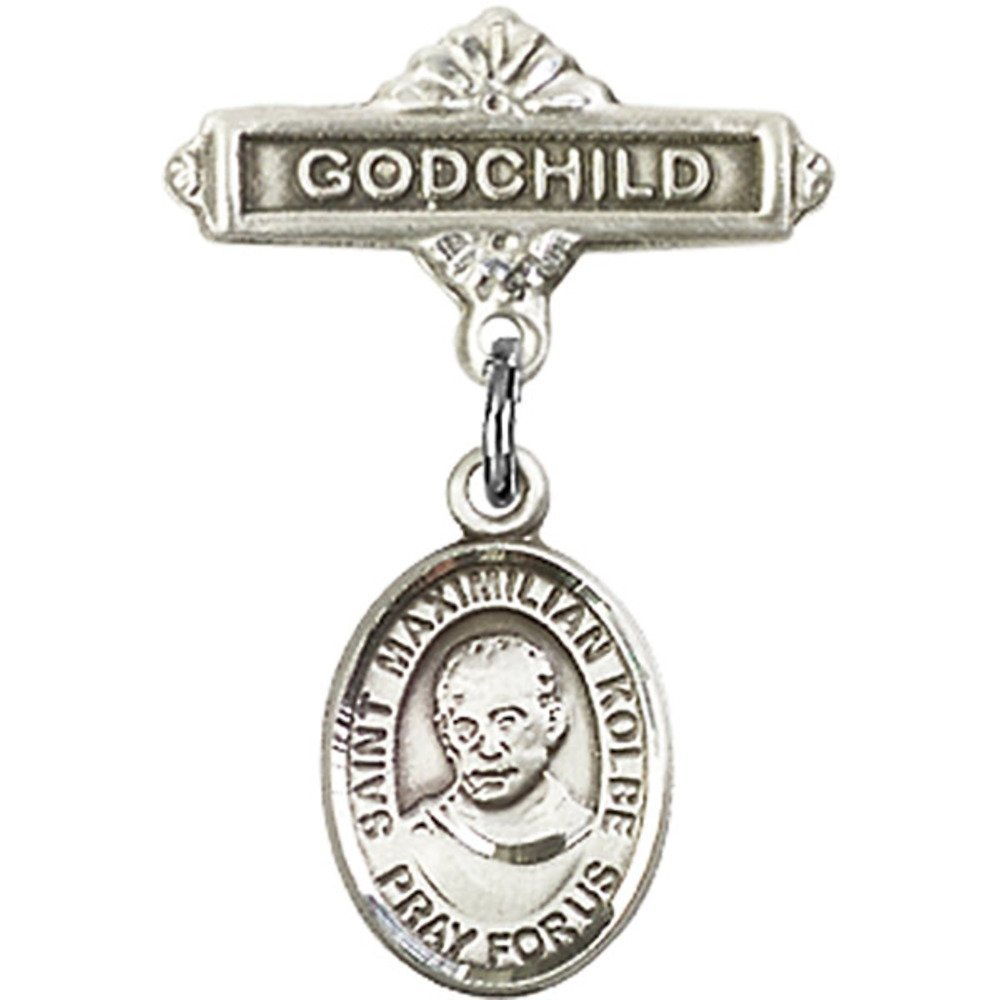 Sterling Silver Baby Badge mit St. Maximilian Kolbe Charm und Godchild Badge Pin 1 X 5/8 Inches