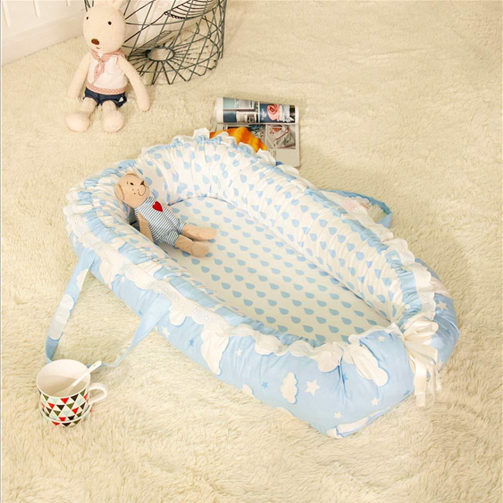 Ukeler ベビートラベルベッド ベビーラウンジャー ポータブル スーパーソフト 通気性 新生児 幼児 トイレ コスプレ用ネスト R1026  Raindrop Blue B07QS2FJBY