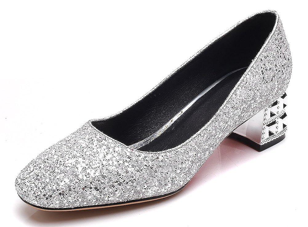 af4ed41fd6cf Amazon.com | IDIFU Women's Elegant Square Toe Glitter Block Mid Heels Slip  On Pumps Shoes | Pumps
